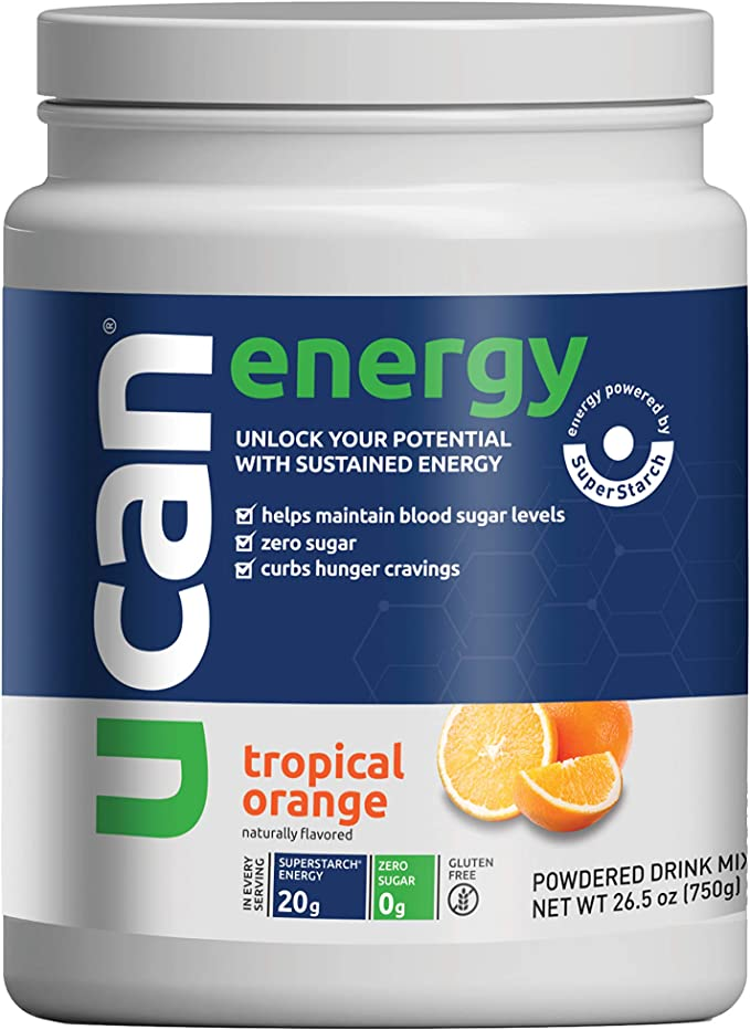 UCAN Long Lasting Extended Release Energy Drink Mix - Endurance Fuel, Pre Workout & Post Workout - for Daily Focus, Performance, to Curb Cravings - (Orange, 26.5oz, 30 Servings)