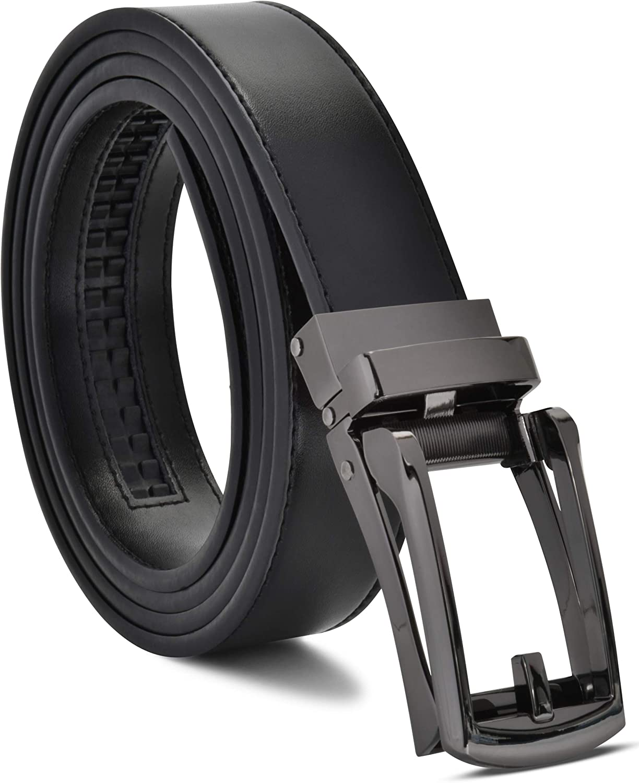 Mens Genuine Leather Ratchet Dress Belt with Slide Belt for men
