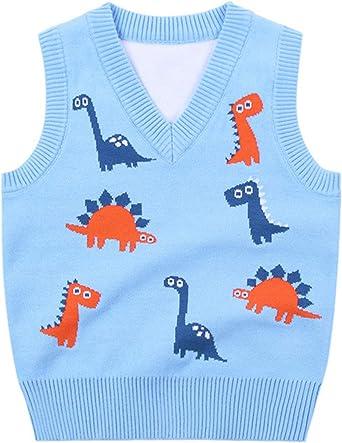 Niños Chaleco de Punto Cuello V Jerséis de Punto Suéter sin Mangas Jersey Pullover Jacquard de Dibujos Animados Suéter Ropa