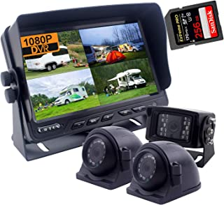 CAMNEX 9 inch Monitor 1080P HD Backup Camera System, HD DVR Recorder, Support 256GB SD Card, 4 Channel Input, Quad Split S... photo