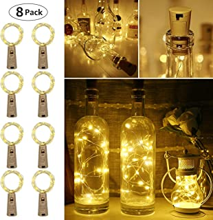 LE Wine Bottle Lights with Cork, 6.6ft 20 LED Battery Operated String Lights, Warm White Decorative Fairy Lights, Mini Copper Wire Lights for Bedroom Decor, Christmas Party Wedding Decorations, 8 Pack