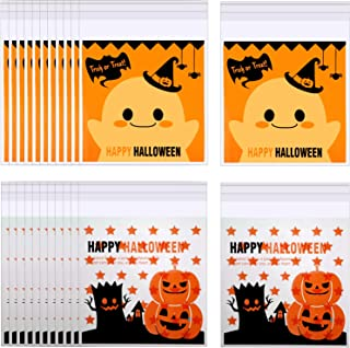 400 Pieces Halloween Cellophane Treat Bags Self Adhesive Candy Bags Halloween Clear Cookie Bags for Party Gift Supplies, 2 Styles