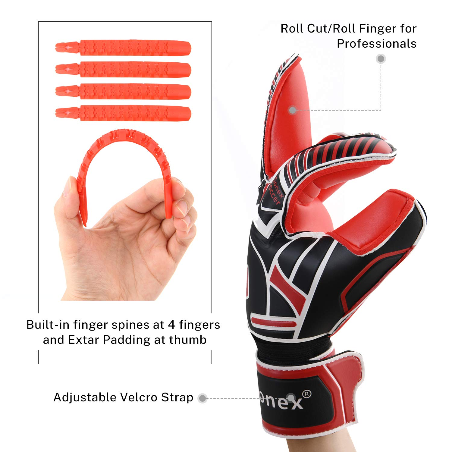 Youth /& Adult Pro-Level Gollies Golly Gloves Roll Cut Finger Protection 3.5mm Superior Grip Gonex GK Goalie Gloves Soccer Goalkeeper Gloves with Fingersave Spines