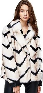 معطف الفرو الصناعي للنساء من Escalier معطف دافئ للشتاء طويل الأكمام طية صدر السترة من الفراء الزغبي أبلى