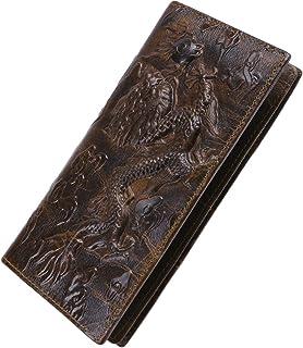 Men's RFID Vintage Look Genuine Leather Long Bifold Wallet Checkbook Wallets
