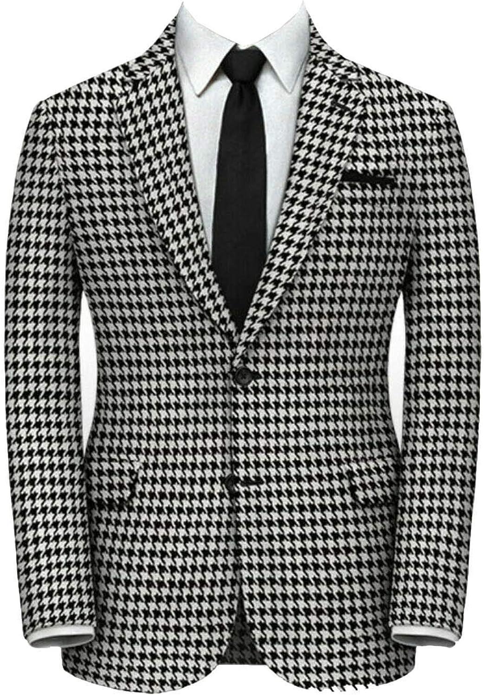 QZI Men's Blazer Houndstooth Blazer Slim Fit Two Button Suit Jackets Stylish Coats Chic Jackets