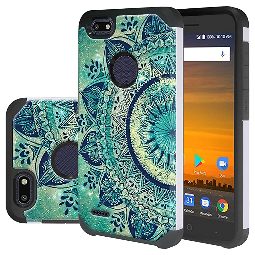 ZTE Blade X Case (Cricket), ZTE Blade Force Case, Linkertech Heavy Duty Protection and Hybrid Shock Absorption Dual Layer Protector Case for ZTE Blade X / Blade Force / Warp 8 N9517 (Floral Totem)
