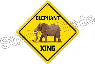 StickerPirate Elephant Crossing Funny Metal Novelty Sign Aluminum