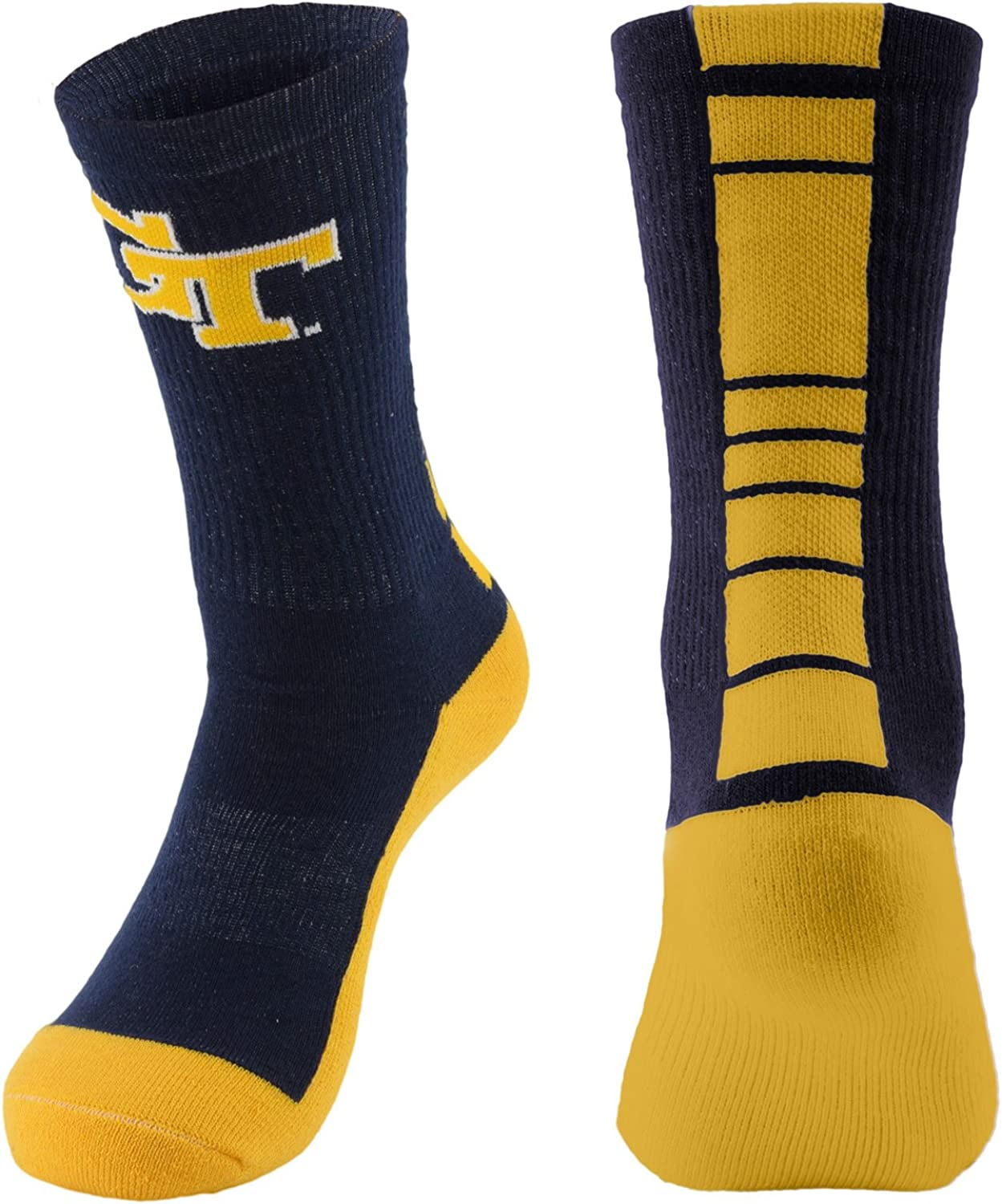 NCAA (TEAM) Men's Made in the USA Polytek Champ Performance Crew Socks with Wicking Material and Extra Cushion