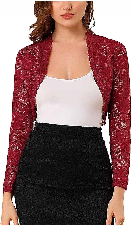 Women's Long Sleeve Floral Lace Shrugs Bolero Cardigan Crochet Sheer Crop Jacket