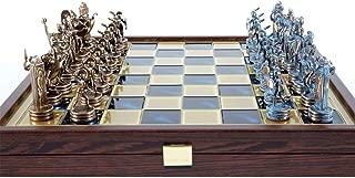 Manopoulos Greek Mythology Chess Set - Blue&Copper - Wooden case Blue Board