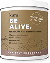 Kura Grass Fed Dairy Protein Wellness Powder, Sea Salt Chocolate, 18g Protein, 23 Vitamins & Minerals, Non-GMO, Gluten Free, Stevia Free, Pasture Raised (16.9 Ounce)