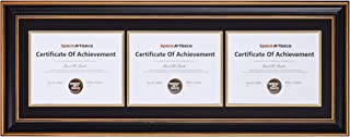 Space Art Deco Ornate Gold Black Design Horizontal Triple Certificate/Diploma Frame - Black over Gold Double Mat - For Three 8.5x11 Certificates and Diplomas- Sawtooth Hangers - Wall Mount (Landscape)