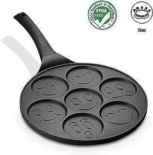FRUITEAM Smiley Face Pancake Pan Nonstick Griddle 10 Inch Pancake Maker Mini Pancake and Flapjack 7 Mold Emoji Blini Pan for Son Daughter Gifts from Mom