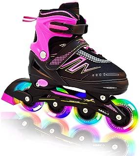 Hiboy Adjustable Inline Skates with All Light up Wheels, Outdoor & Indoor Illuminating Roller Skates for Boys, Girls, Beginners