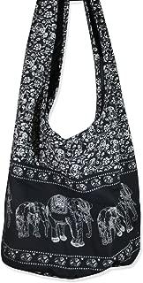Thai Hippie Bag Elephant Sling Crossbody Bag Purse Thai Top Zip Handmade Black