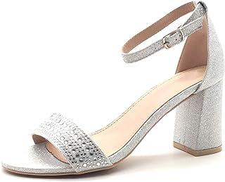 b575e6f9edb8c Angkorly - Chaussure Mode Escarpin Sandale Glamour soirée Chic Femme Strass  Diamant Brillant Glitter Talon Bloc