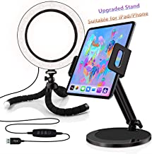 8-inch Ring Light with Stand - Adjustable Phone/Tablet Holder, Compatible with iPad/iPhone/Samsung/Android/Fire Tablets, Ideal for Video/Live Streaming/Selfie/Makeup