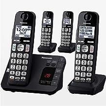 PANASONIC DECT 6.0 سیستم تلفن بی سیم قابل ارتقا با دستگاه پاسخگو و مسدود کردن تماس - 4 گوشی - KX-TGE434B (سیاه)