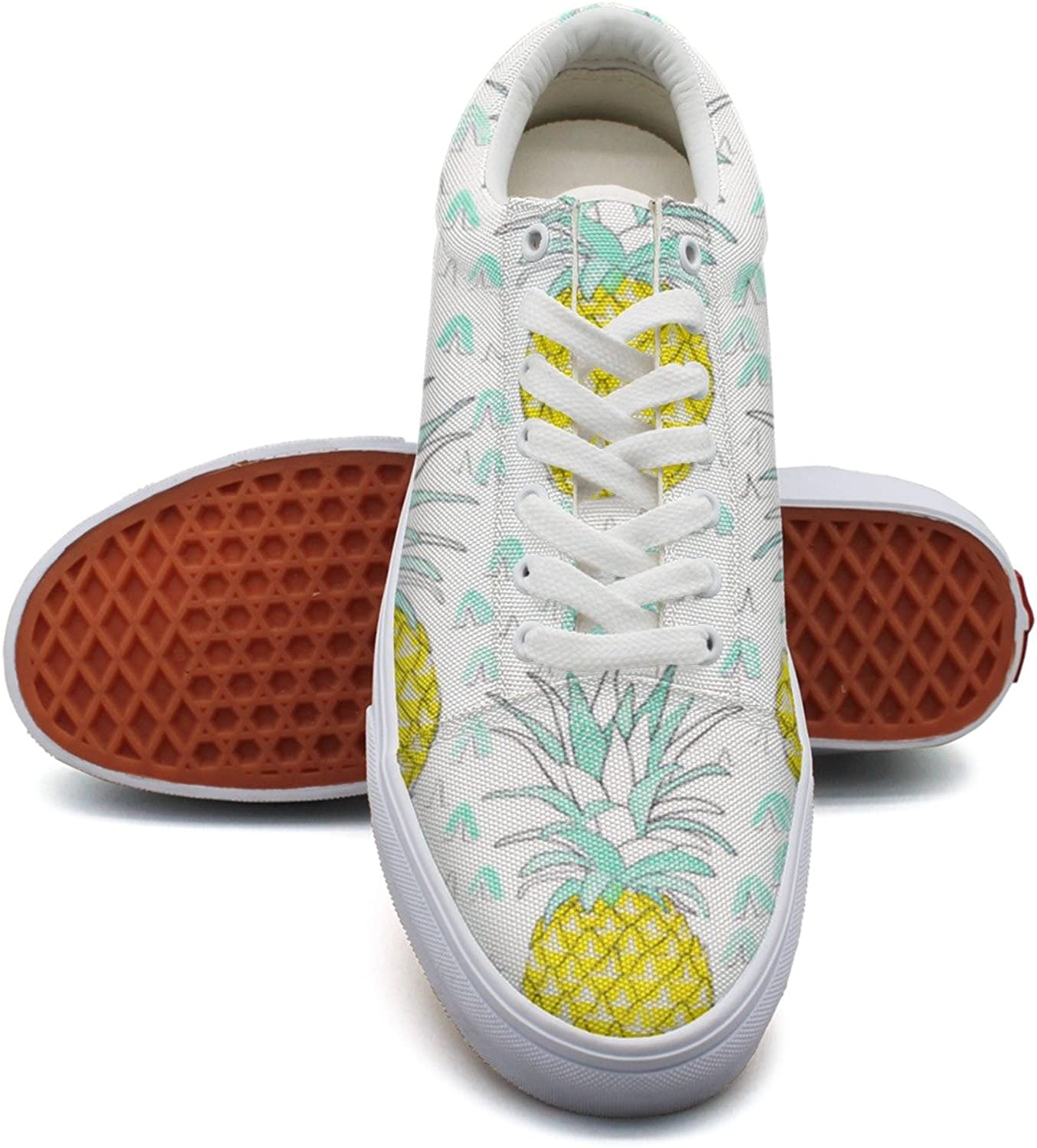 Feenfling Watercolor Pineapples Womens Casual Canvas Lace up Dhoes Low Top Vintage Volleyball Sneakers for Women's