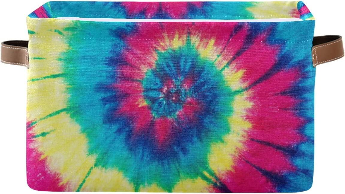Genuine Toprint Rainbow Tie Dye Spiral Storage T Fabric 1 year warranty Basket Bin Large