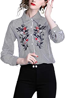 SANHION Women's Embroidery Button Down Shirts Long Sleeve Tops Casual Work Blouses