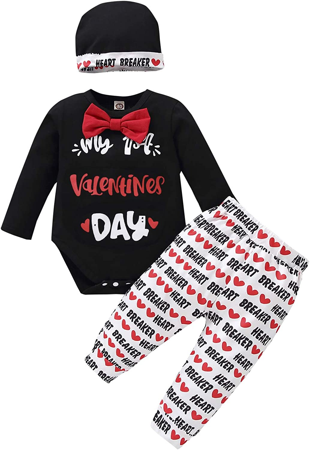 Infant Baby Boy Valentine's Day Outfits My First Valentine's Day Romper+Heart Print Pants+Hat 3PCS
