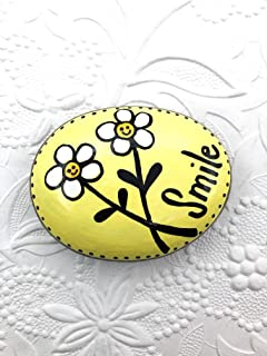 Smile Painted Rock with Daisies