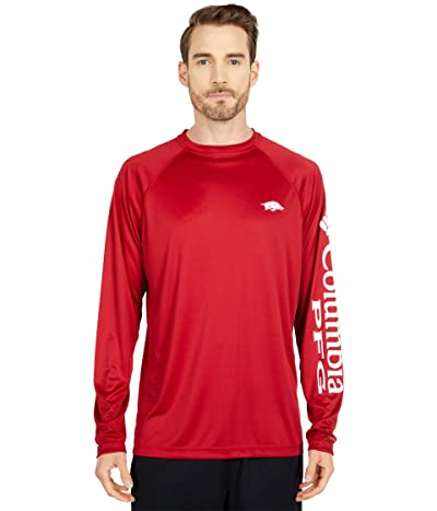 Columbia College Arkansas Razorbacks Terminal Tackletm Long Sleeve Shirt (Red Velvet/White) Men
