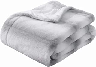 SEDONA HOUSE Faux Fur Throw Blanket - Super Soft Fuzzy Faux Fur Cozy Warm Fluffy Beautiful Plush Microfiber Throw Blanket, Grey Stripe
