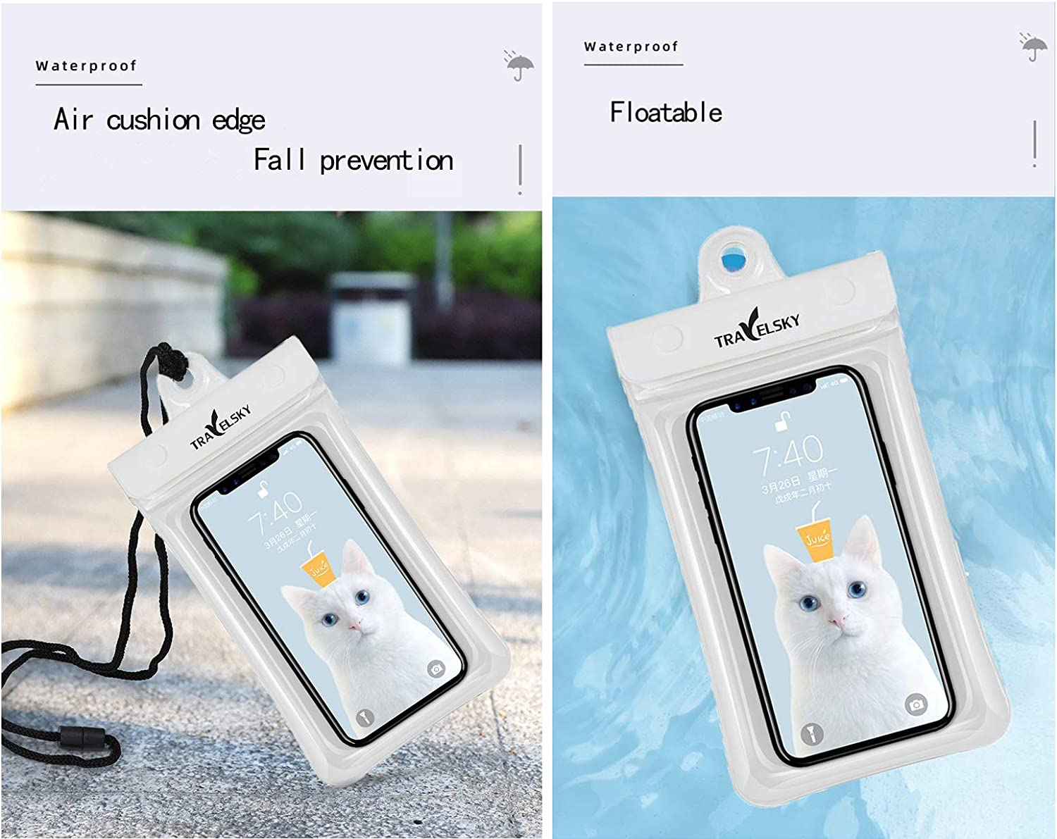 Waterproof Phone Pouch TPU Air Bag 7.21 inch Float able Four Layer Seal Touch Screen Mobile Phone Arm Bags,for Outdoor,Diving(30 Meters),Rafting,Swimming,Surfing(White)