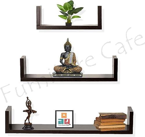 Furniture Cafe U Wall Shelf Racks and Shelves for Living Room Kitchen Book Home Decor Set of 3 Walnut Finish Brown