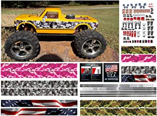 RC Truck - 162 pc Universal Body Vinyl Decal kit Choose Your Set - for Arrma HPI Axial Traxxas Redcat Hyper 1/10 1/8 Scale Rock Crawler Stickers car (Green camo/Pink camo/Skulls/American Flag)