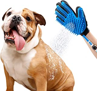 SWARK Dog Shower Sprayer Bath Glove, Pet Bathing Tool Compatible with Shower Bath Tub and Outdoor Garden Hose, Pet Hair Remover, Shower Grooming Glove for Dog,Cat - Blue