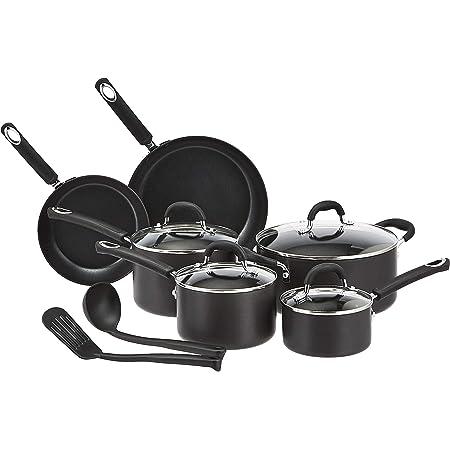 Amazon Basics Hard Anodized Non-Stick 12-Piece Cookware Set, Black - Pots, Pans and Utensils