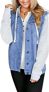 Sponsored Ad - LookbookStore Women's Basic Long Sleeves Button Hooded Denim Jean Trucker Jacket