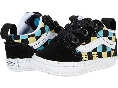 Vans Kids Old Skool Crib (Infant/Toddler) ((Neon Glow Check) Black/Multi) Boys Shoes
