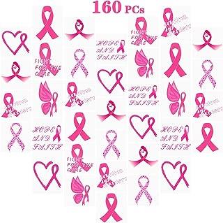 160 PCs Pink Ribbon Tattoos Breast Cancer Awareness Temporary Tattoos