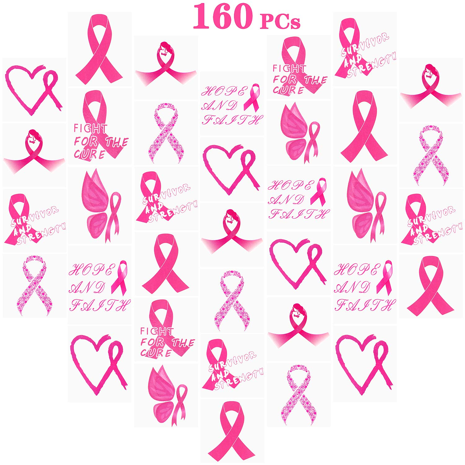 160 PCs Pink Ribbon Tattoos Temporary Ta Cancer Limited time for free shipping Max 61% OFF Awareness Breast