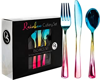 OS Oak & Steel ENGLAND - 150 Rainbow Plastic Silverware Set| 50 Knives 50 Forks 50 Spoons| Heavy Duty, Disposable & Reusable Cutlery Flatware Utensils Set| Party Weddings Bridal & Baby Shower