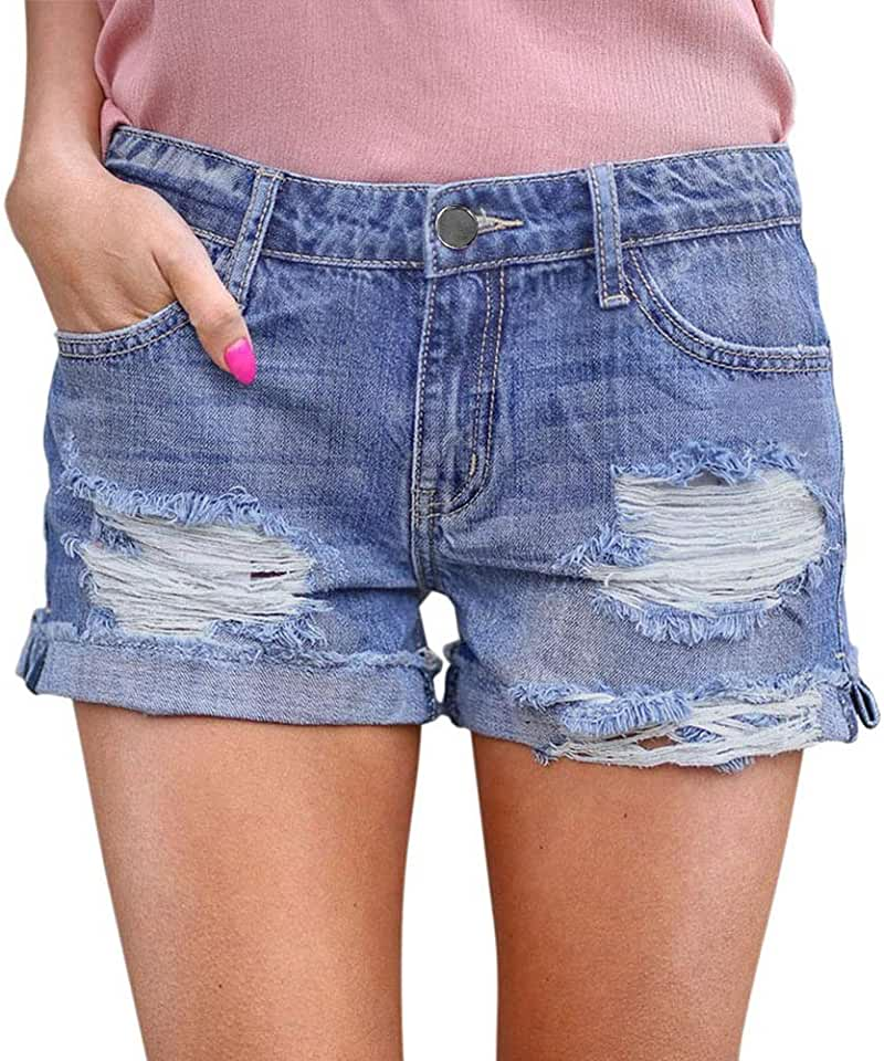 YJiaJu Broken Hole Casual Curling Old Jeans Shorts Sexy Shorts Hot Young Girl Women High Waist Hot Pants Bag Hip Jeans (Color : Blue, Size : L)
