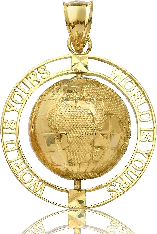 LoveBling 10K Yellow Gold Rotating World Map, Globe Charm Pendant (1.40