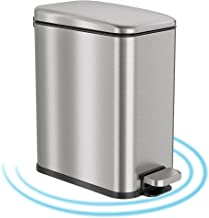 iTouchless 1.3 Gallon Slim Bathroom Filter & Removable SoftStep Step Trash Can with AbsorbX Odor Filter and Removable Inne...
