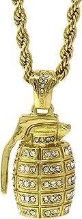 Mens Gold Plated Hip-Hop Hand Grenade Cz Pendant 24