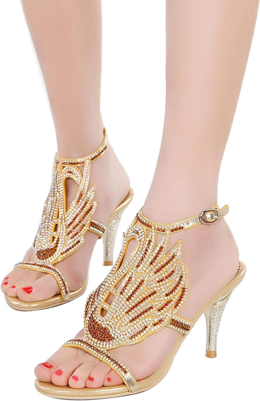 YooPrettyz Crystals Strappy Heels Slingback shoes Cut Out Dress Sandals Heels for Women