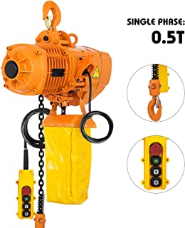 Mophorn 0.5T Electric Chain Hoist Single Phase 1100LBS 10ft Lift Height Electrical Hook Mount G80 Chain Hoist Double Chain with Pendant Control (0.5T 110V)