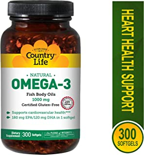 Country Life Omega-3 Fish Body Oils 1000 mg, 300-Count