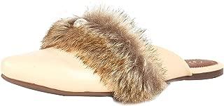 Catwalk Women's Pearl Fur Strap Mules