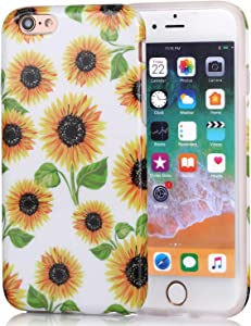 iPhone 6s Case for Girls, iPhone 6 Case, Cute Slim Fit Glossy TPU Soft Rubber Silicone Cover Phone Case for iPhone 6s / iPhone 6 Yellow Sunflowers