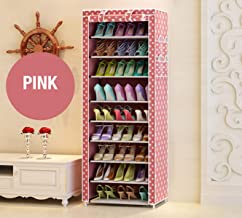 Zizer Multipurpose Portable Folding Shoes Rack 9 Tiers Multi-Purpose Shoe Storage Organizer Cabinet Tower with Iron and Nonwoven Fabric with Zippered Dustproof Cover (Pink-Dot-9-Layer) (Pink-Dota)